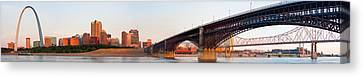 Wide View Of St Louis And Eads Bridge Canvas Print by Semmick Photo