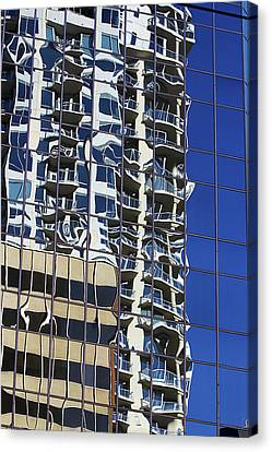 Canvas Print featuring the photograph Wiggly Balconies by Phyllis Denton