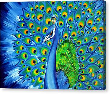 Wild And Free-peacock Canvas Print by Cathy Jacobs