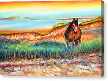 Canvas Print featuring the painting Wild And Free Sable Island Horse by Patricia L Davidson