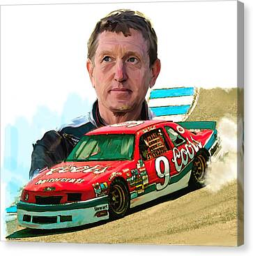 Canvas Print featuring the painting Wild Bill  Bill Elliott  by Iconic Images Art Gallery David Pucciarelli