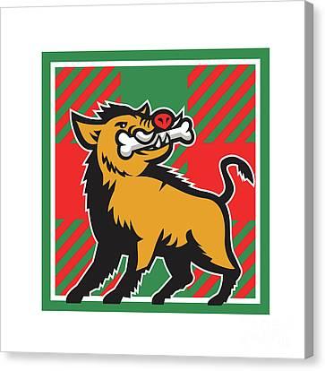 Wild Boar Bone In Mouth Tartan Square Retro Canvas Print by Aloysius Patrimonio