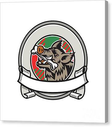 Wild Boar Razorback Bone In Mouth Circle Ribbon Retro Canvas Print by Aloysius Patrimonio