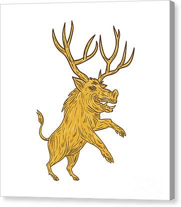 Wild Boar Razorback With Antlers Prancing Drawing Canvas Print by Aloysius Patrimonio