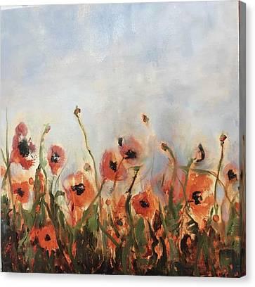 Wild Corn Poppies Underpainting Canvas Print
