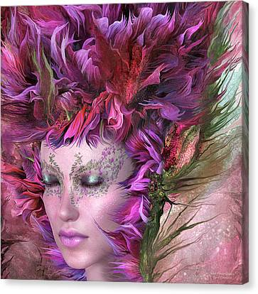 Mix Medium Canvas Print - Wild Flower Goddess by Carol Cavalaris
