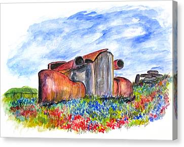 Wild Flower Junk Car Canvas Print by Clyde J Kell