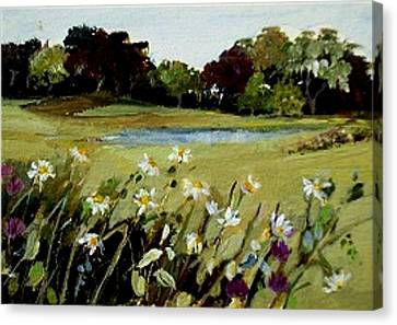 Canvas Print featuring the painting Wild Flower Landscape by Diane Ursin