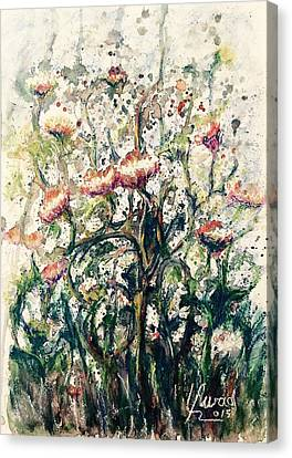 Canvas Print featuring the painting Wild Flowers # 2 by Laila Awad Jamaleldin