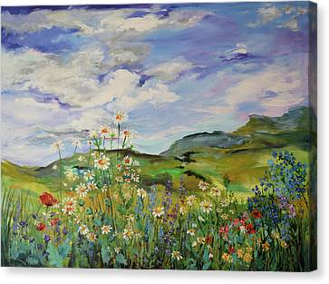 Wild Flowers Landscape - Poppies And Daisies Large Floral Painting Canvas Print by Soos Roxana Gabriela