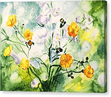 Close Focus Nature Scene Canvas Print - Wild Flowers by Masha Batkova