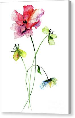 Wild Flowers Watercolor Illustration Canvas Print