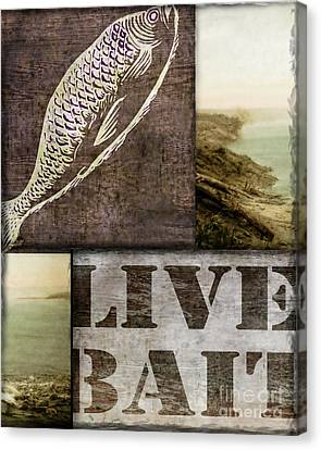 Log Cabin Canvas Print - Wild Game Live Bait Fishing by Mindy Sommers