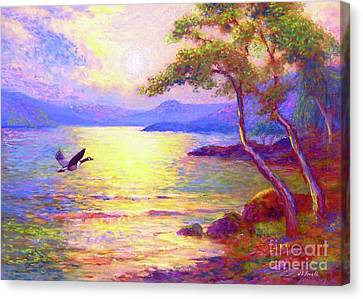 Geese Canvas Print -  Wild Goose, Moon Song by Jane Small