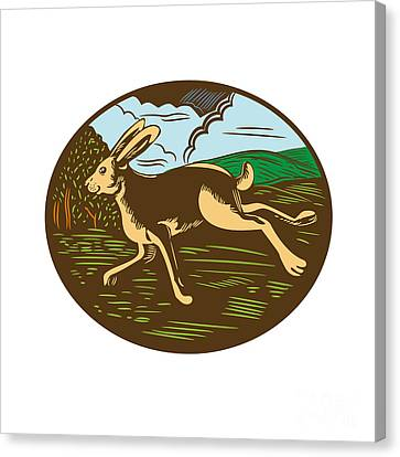 Wild Hare Rabbit Running Oval Woodcut Canvas Print