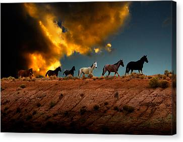 Wild Horses At Sunset Canvas Print