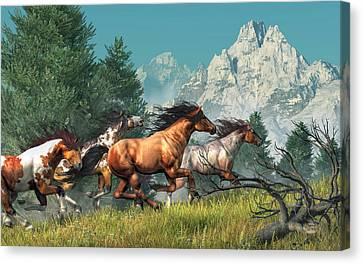 Wild Horses Canvas Print by Daniel Eskridge