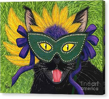 Wild Mardi Gras Cat Canvas Print by Carrie Hawks