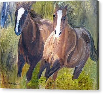 Wild Mustangs Canvas Print by Michael Lee