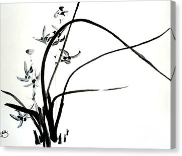 Canvas Print featuring the painting Wild Orchid by Sibby S