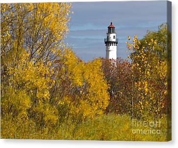 Wind Point Lighthouse In Fall Canvas Print by Ricky L Jones