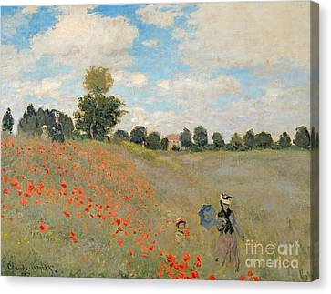 Wild Canvas Print - Wild Poppies Near Argenteuil by Claude Monet