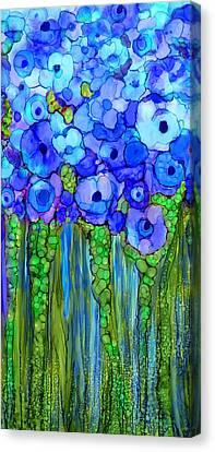 Wild Poppy Garden - Blue Canvas Print