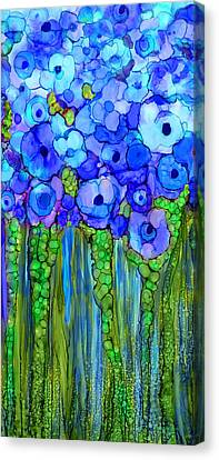 Canvas Print featuring the mixed media Wild Poppy Garden - Blue by Carol Cavalaris