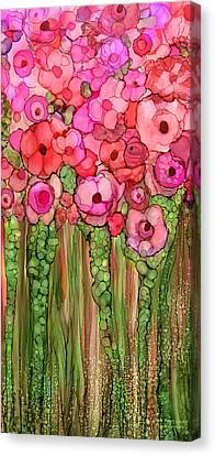 Wild Poppy Garden - Pink Canvas Print by Carol Cavalaris