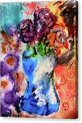 Canvas Print featuring the mixed media Wild Roses by Lisa McKinney