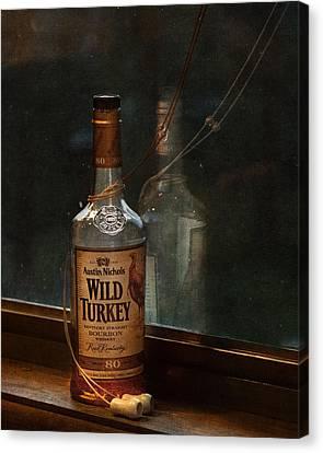 Wild Turkey In Window Canvas Print