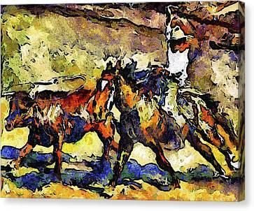 Wild Wild West Van Gogh Style Expressionism Canvas Print by Georgiana Romanovna