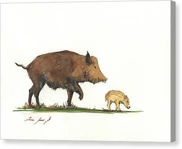 Piglets Canvas Print - Wildboar Piglet by Juan Bosco