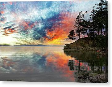 Wildcat Cove In Washington State At Sunset Canvas Print by David Gn