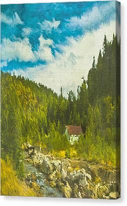 Canvas Print featuring the digital art Wilderness Cabin by Dale Stillman