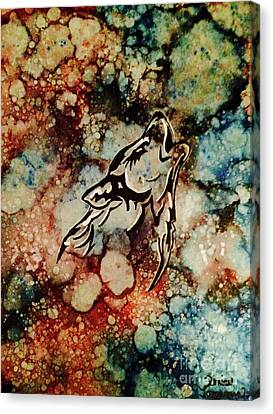 Canvas Print featuring the painting Wilderness Warrior by Denise Tomasura