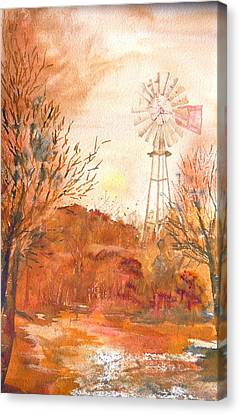 Canvas Print featuring the painting Wilderness Windmill by Sharon Mick