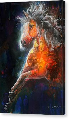 Canvas Print featuring the painting Wildfire Fire Horse by Sherry Shipley