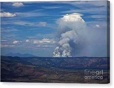 Canvas Print featuring the photograph Wildfire Flares Up In Northern Az by Ron Chilston