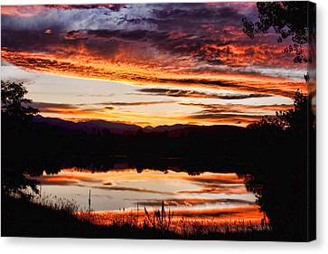 Wildfire Sunset Reflection Image 28 Canvas Print