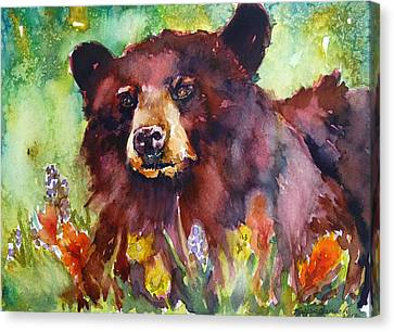 Wildflower Bear Canvas Print by P Maure Bausch
