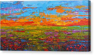Wildflower Field At Sunset - Modern Impressionist Oil Palette Knife Painting Canvas Print by Patricia Awapara