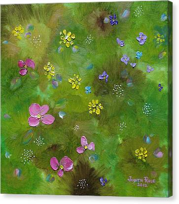 Canvas Print featuring the painting Wildflower Support by Judith Rhue