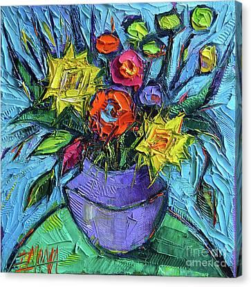Wildflowers Bouquet On Green Table - Impasto Palette Knife Oil Painting - Mona Edulesco Canvas Print
