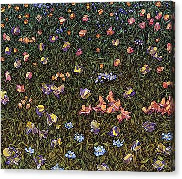 Canvas Print featuring the painting Wildflowers by James W Johnson
