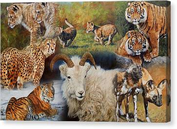 Cheetah Canvas Print - Wildlife Collage by David Stribbling