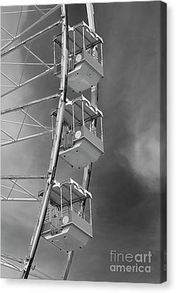 Wildwood New Jersey Ferris Wheel Chairs In Black And White Canvas Print by John Van Decker