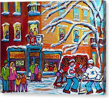 Wilensky Deli Paintings Plateau Mont Royal Kids Winter Hockey Scene Canadian Art Carole Spandau      Canvas Print by Carole Spandau