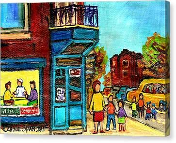 Wilensky's Counter With School Bus Montreal Street Scene Canvas Print by Carole Spandau