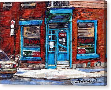 Wilensky's Doorway With Bicycle Montreal Memories Best Original Canadian Paintings For Sale Cspandau Canvas Print by Carole Spandau